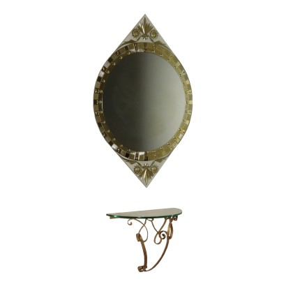 Console with Mirror Gilded Metal and Crystal Italy 1950s