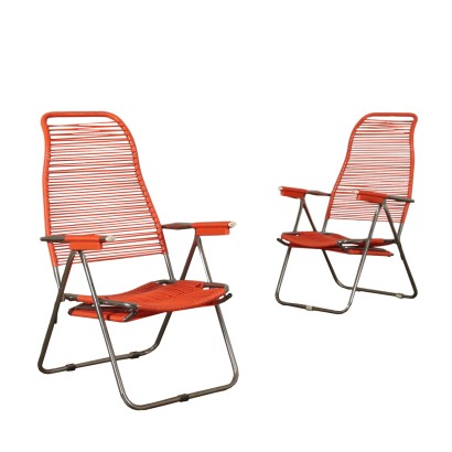 Deck Chairs, Metal and PVc, Italy 1960s Italian Prodution