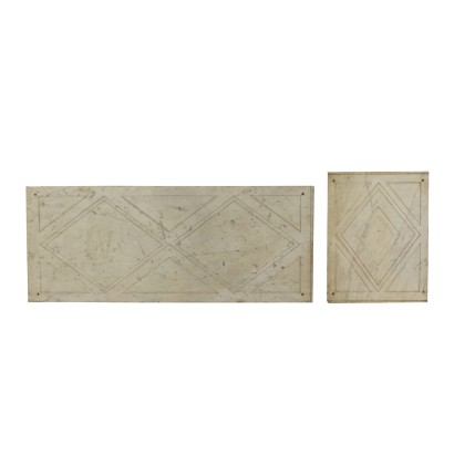 Pair of Marble Palates, White Carrara Marble, Italy 19th-20th Century