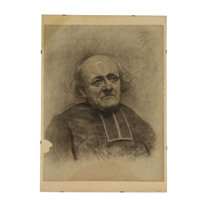 Prelate Face, Drawing on Paper, 19th Century