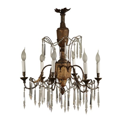Neoclassical Chandelier, Carved Wood and Wrought Iron, Italy 18th Cen