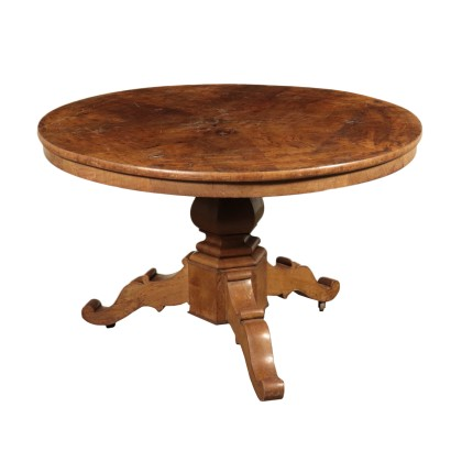 Table Basse Ronde Noyer Italie Fin '800