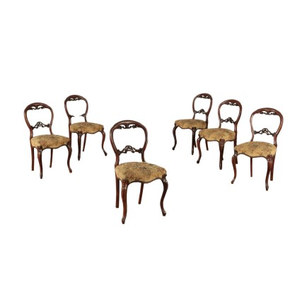Goup of six Louis Philippe Chairs, Wood and Padding Italy 19th Century