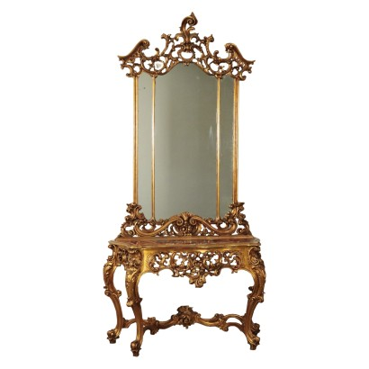 Baroque Style Console with Mirror, Wood Red Marble, Italy 20th Century