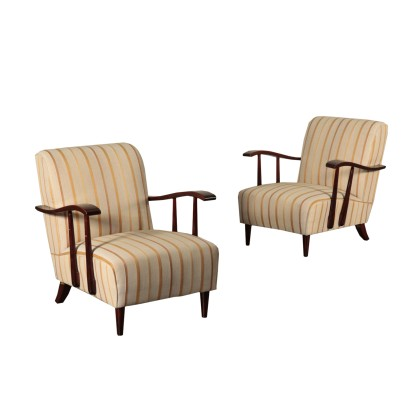Armchairs, Stained Wood, Italy 1940s-1950s