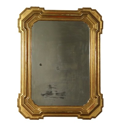 Wall Mirror, Gilded Wood, Italy 19th Century