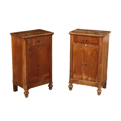 Pair of Bedside Table, Walnut and Walnut Veneer, Italy 19th Century