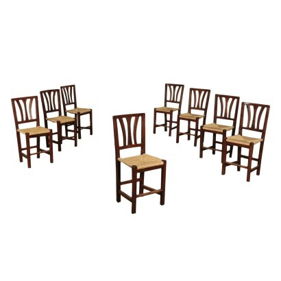 Group of Eight Straw Chairs, Elm, 20th Century