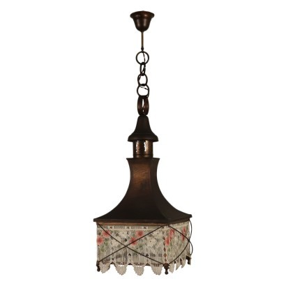Lantern Chandelier, Shear Plate Brass and Galss, Italy 20th Century