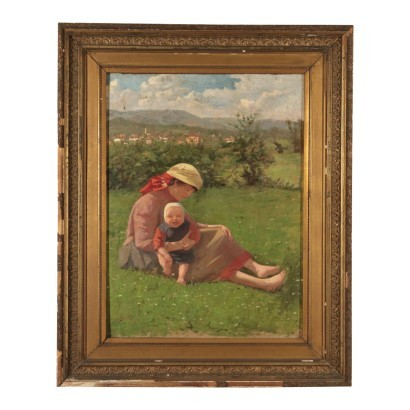 Maternity in a Landscape, Oil on Canvas, 20th Century