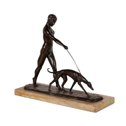 female Nude with Greuhound, Bronze, 20th Century