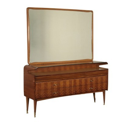 Dresser,Mahogany Veneer Back-Treated Glass and Brass, 1950s
