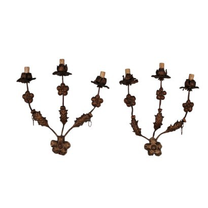 Pair of Wall Lights Wrought Iron Italy 20th Century