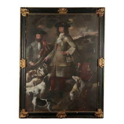 Portrait of an Hunter, Oil on Canvas, Lombard School 18th Century