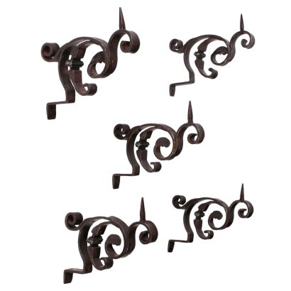 Group of 5 Candle Holders-Appliques, Wrought Iron, Italy 20th Century