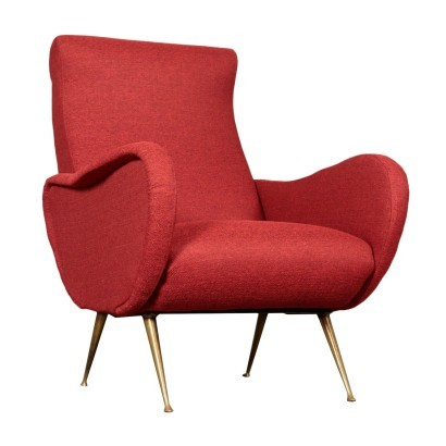 Armachair, Foam Brass and Fabric, Italy 1950s-1960s