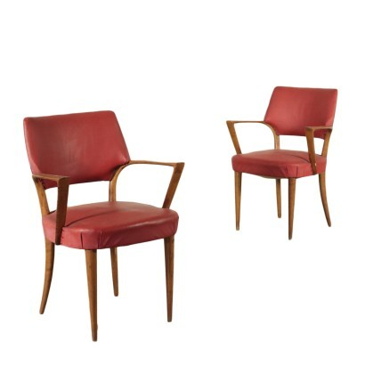 Armchairs, Beech Spring and Leatherette, Italy 1950s
