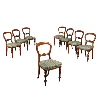 Group of 8 Chairs, Mahogany, England 19th Century
