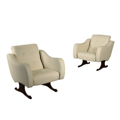 Armchairs, Rosewood Foam Brass and Leatherette, Italy 1960s