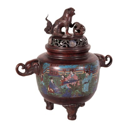Cloisonne Bronze Incense Burner, Japan, Meiji Period (1868-1912)