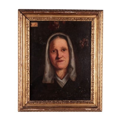 Portrait of an Old Lady Oil on Canvas Lombard School 19th Century