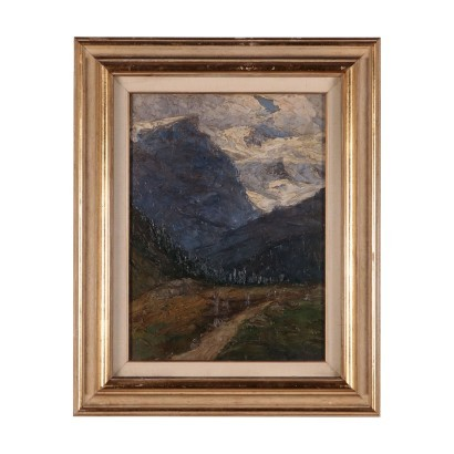 Landscape by Carlo Bazzi Oil on Board Italy 20th Century