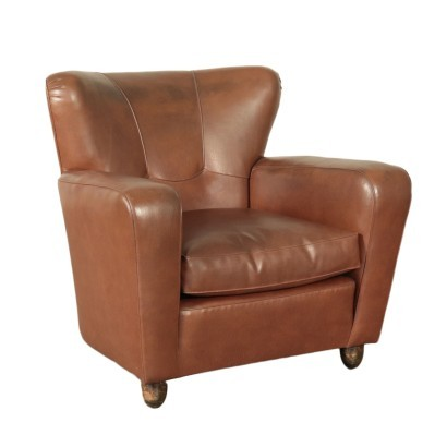Armchair Spring Foam and Leatherette Italy 1950s Italian Prodution