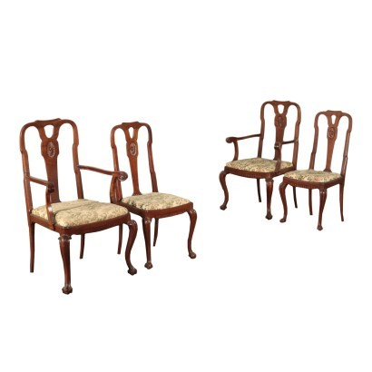 Pair of British Cahirs and Pair of Armchair Mahogany England 1900