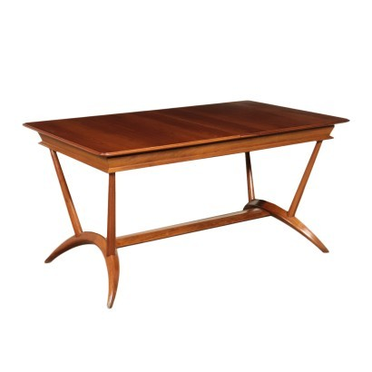Table, Beech and Mahogany Veneer, Italy 1950s Italian Prodution