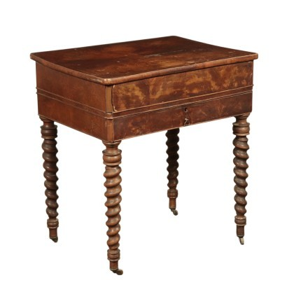 Small Table with Wheels Walnut Italy 19th Century