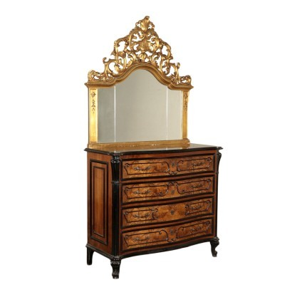 Chest Of Drawers With Mirror Baroque Burr Walnut Italy Early '900s