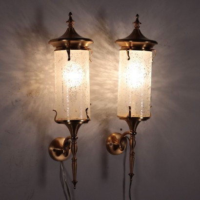 Pair Of Sconces Brass Decorated Glass Italy 1950s