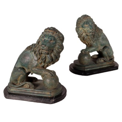Pair Of Lions Bronze Marble Italy Mid '900