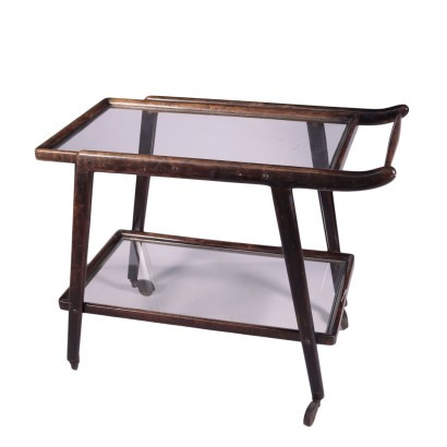 Service Cart Stained Ebony Glass Italy 1950s