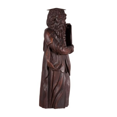Wooden Sculpture Of Moses Sessile Oak Italy Late '800