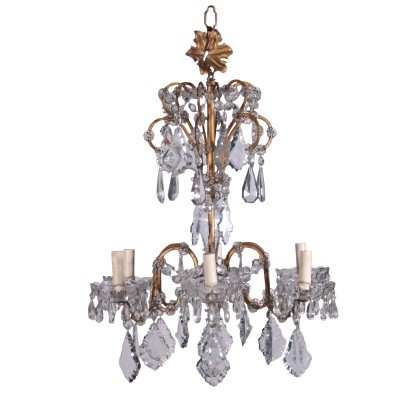 Chandelier Metal Crystal Italy 20th Century
