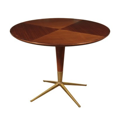 Table Poplar Mahogany Veneer Glass and Brass England 1950s-1960s