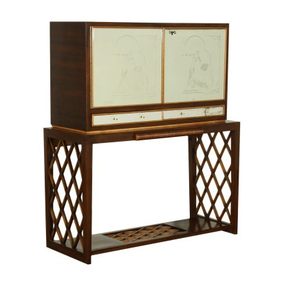 Bar Cabinet Solid Wood Mahogany Veneer Mirrored Glass Italy 1940s-1950