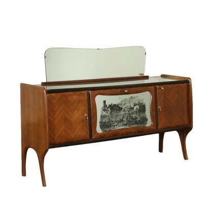 Sideboard Veneer Mirror Back-Treated Glass Italy 1950s