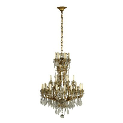Neoclassical Taste Chandelier Gilded Bronze Glass Italy 20th Century