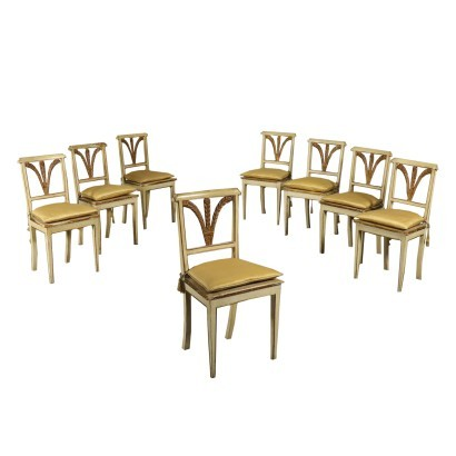Group Of Eight Chairs Bourbon Restoration Late 19th Century