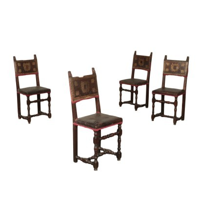 Group Of Four Chairs Baroque Chestnut Walnut Leather Italy '700
