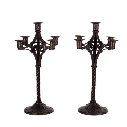 Pair Of Candlesticks Wrought Iron Italy Early '900