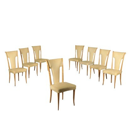 Chairs Beech Springs and Leatherette Italy 1950s