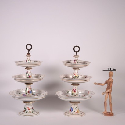 Pair Of Cake Stands Porcelain Second Half '800