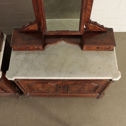 Pair Of Bedside Tables Umbertino Mahogany Marble Mirror Italy Late 800