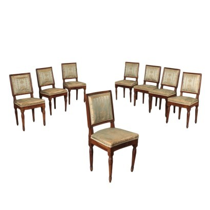 Group Of Eight Neoclassical Chairs Walnut Italy Second Half 1700