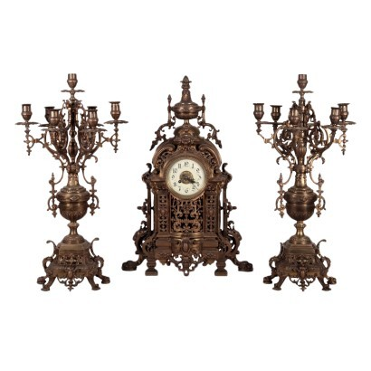 Clock Triptych Bronze France Late '800