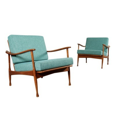 Armchairs Stained Beech Wood Foam Fabric 1960s