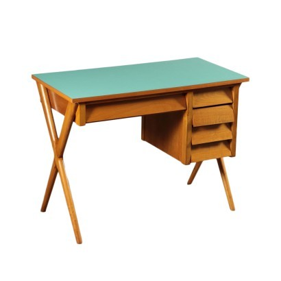Writing Desk Beech Veneered Solid Wood Formica Italy 1950s